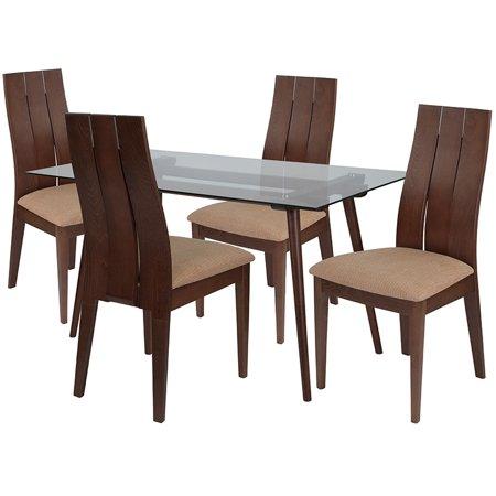 Wide Slat (Offex 5 Piece Walnut Wood Dining Table Set with Wide Slat Back)