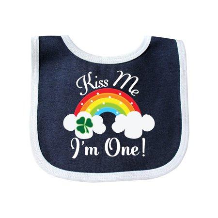 1st Birthday Kiss Me Im One Baby Bib Navy White Size