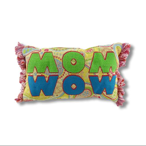 Yellow Paisley Woven Tapestry `Mom/Wow` Accent Pillow