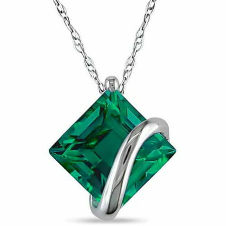 2-1/2 Carat T.G.W. Created Emerald 10kt White Gold Solitaire Women's Pendant Necklace, 17 Created Emerald Pendant Necklace
