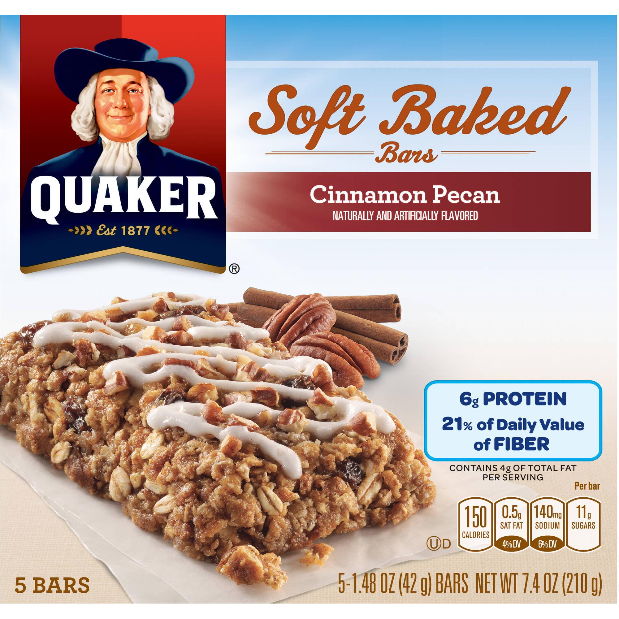 Quaker Cinnamon Pecan Bread Soft Baked Bars, 1.48 oz, 5 count