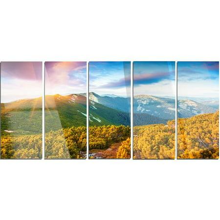 Design Art Bright Sunrise In Carpathian Mountains 5 Piece Photographic Print On Canvas Set