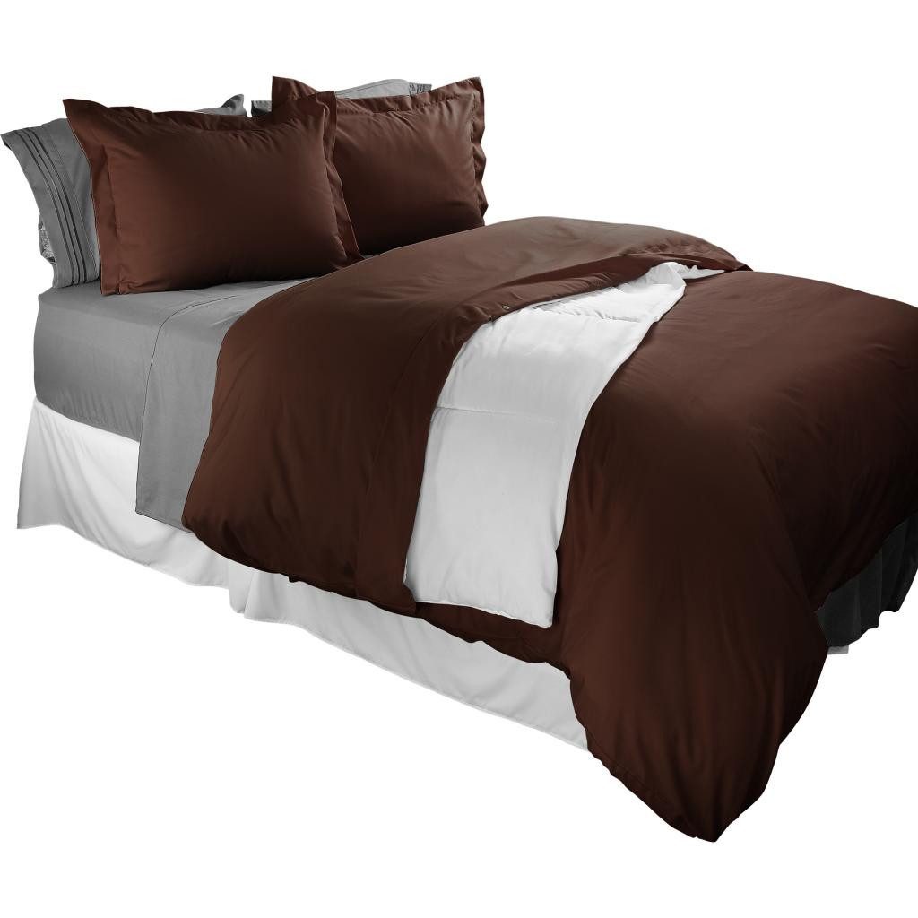 Clara Clark 1800 Series Duvet Cover Set 3pc - Includes 2 Pillow Shams Queen Size, Chocolate Brown