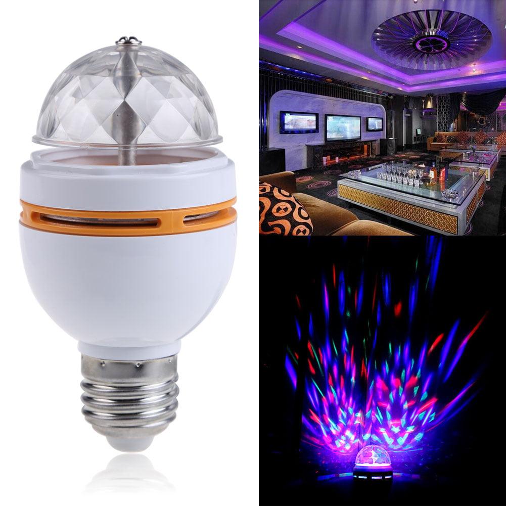 3W E27 RGB Crystal Ball Rotating LED Stage Light Bulb Club DJ Disco Party Xmas by