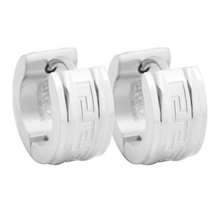 Edforce Stainless Steel Unisex Greek Wall Pattern Small Huggie Hoop Earrings, (7mm x 9mm)