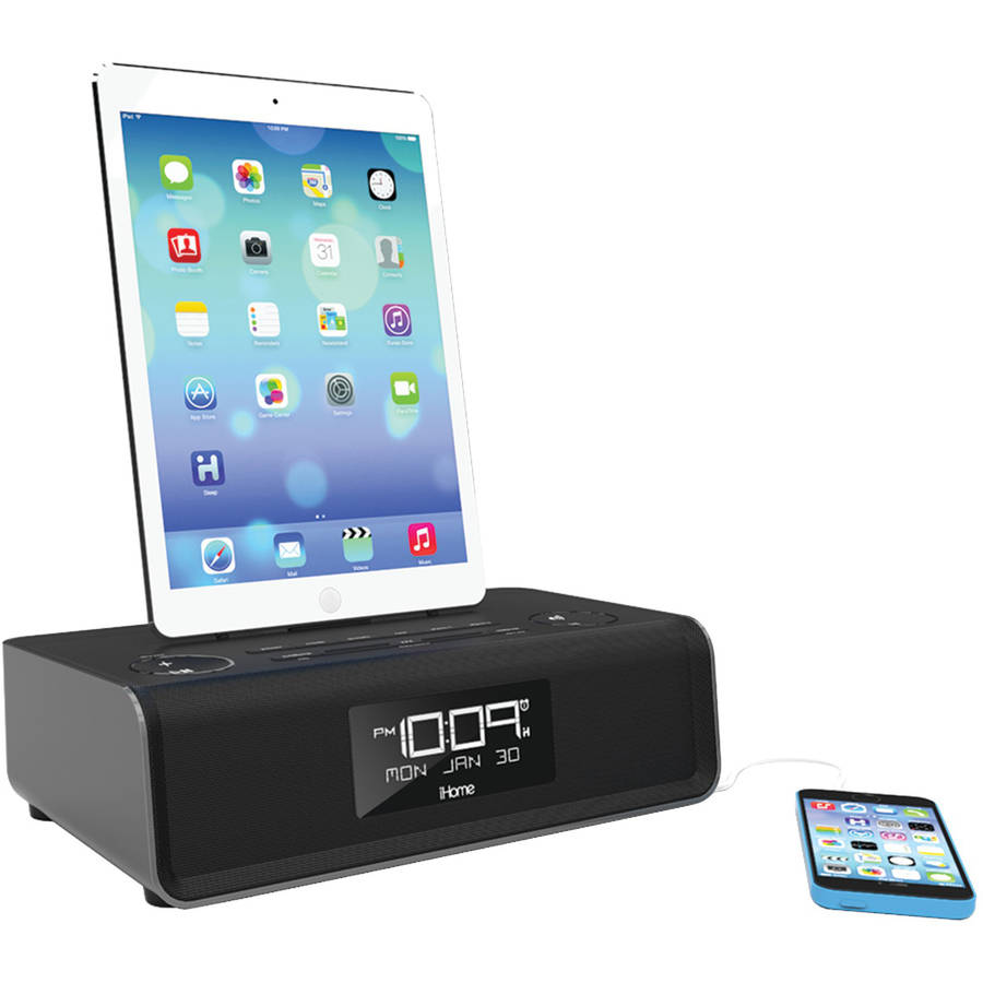 iHome IDL43B Apple iPad/iPhone/iPod Dual Charging FM Clock Radio with Lightning Dock, Black