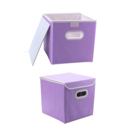 Cloth Storage Bins Cubes Boxes Toy Containers with Handles Purple 2 Packs