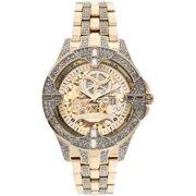 Men's Crystal Bezel Transparent Automatic Skeleton Watch, Gold