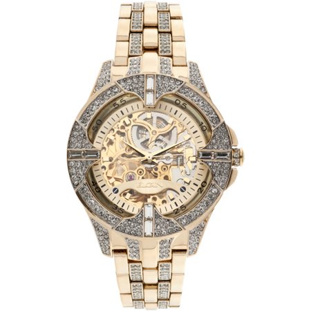 Men's Crystal Bezel Transparent Automatic Skeleton Watch, Gold