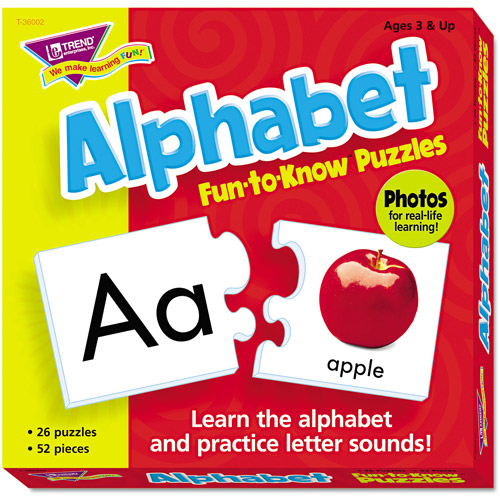 Trend Fun to Know Puzzles, 26 puzzles, 52 pieces, Alphabet