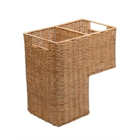 kouboo wicker handwoven stair step basket, 2 compartments, 15 x 15.75 x 9, natural