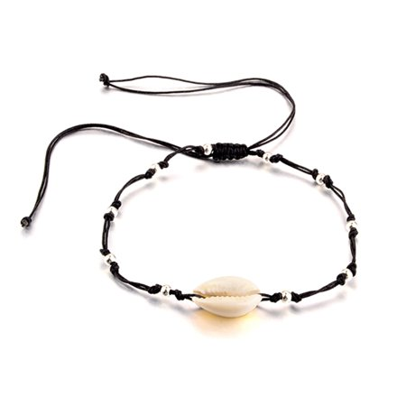 Fancyleo Black Rope Simple Handmade Silver Beads Charm Shells Beach Ankle Bracelets For - Indian Ankle Bracelets