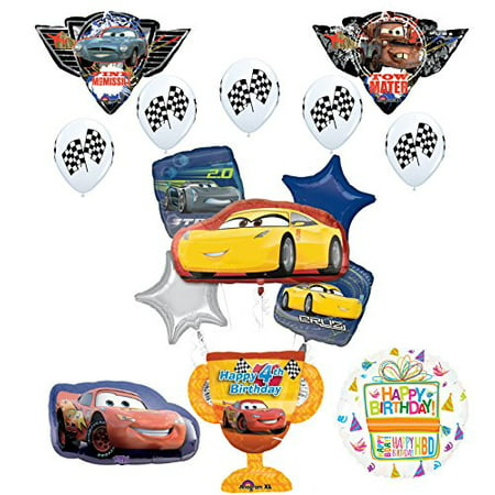 Disney Cars Balloons (Disney Cars 4th Birthday Party Supplies Champion Trophy and Balloon Bouquet)