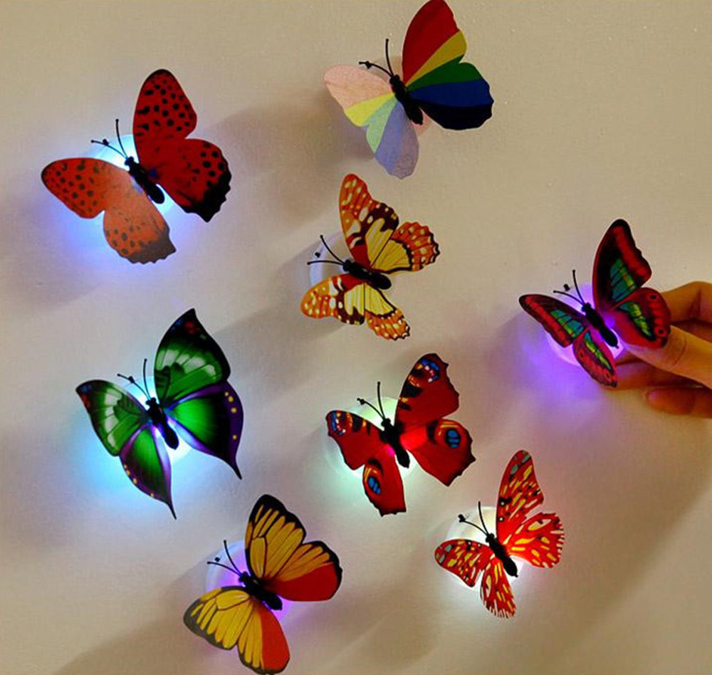 Big clearance!!!iLH Mallroom 10 Pcs Wall Stickers Butterfly LED Lights Wall Stickers 3D House Decoration