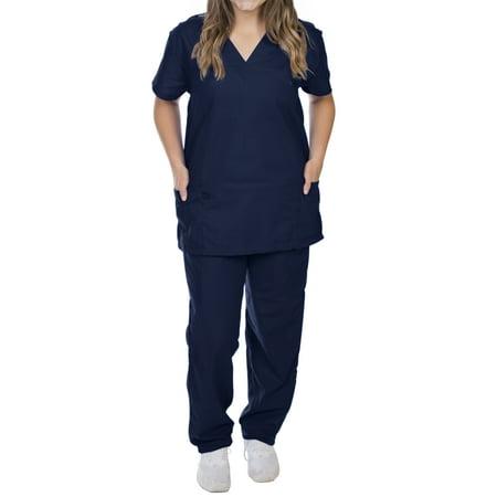 EZI Unisex V-Neck Scrubs Set: Classic Fit & Design, 6 Pockets