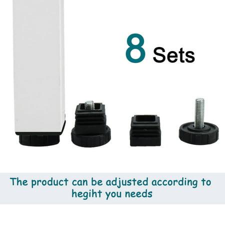 Leveling Feet 38 x 38mm Square Tube Insert Furniture Adjustable Leveler 8 Sets - image 1 de 8