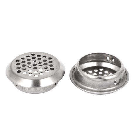 35mm Dia Circular Stainless Steel Meeting Room Air Vent Covers Silver Tone 2 Pcs
