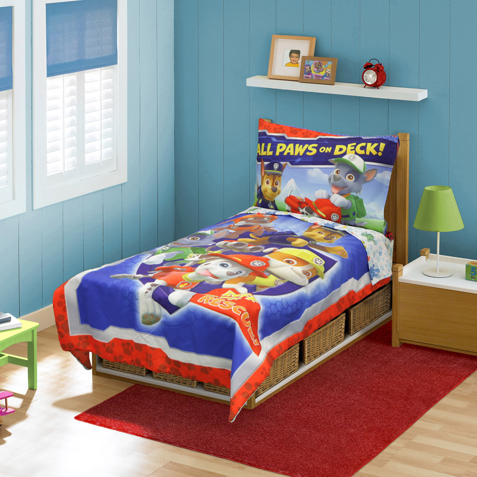 Nickelodeon Paw Patrol Ruff Ruff Rescue 4 Piece Toddler Bed Set Walmart Com