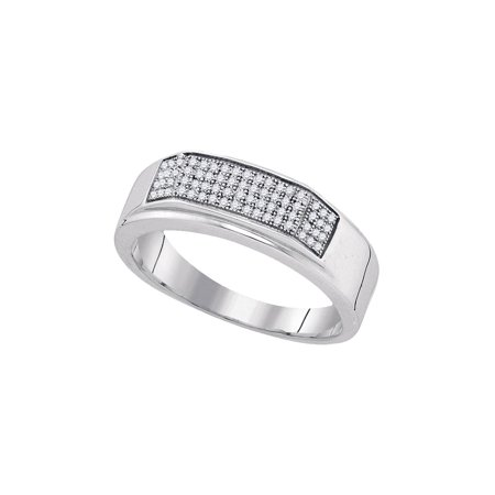 Sterling Silver Mens Round Diamond Micropave Flat Wedding Anniversary Band Ring 1/5 Cttw](Silver Diamond)