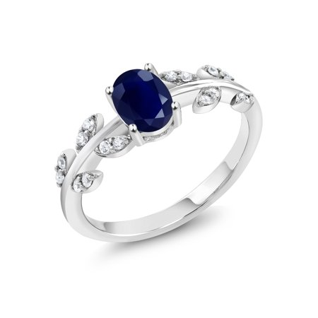 925 Sterling Silver 1.21 Ct Oval Blue Sapphire Solitaire Olive Vine Ring