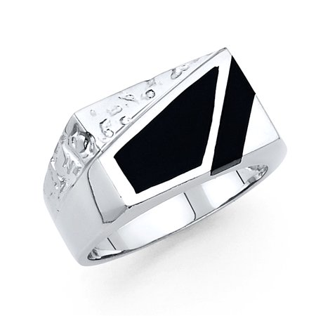 FB Jewels 14K White Gold Simulated Onyx Mens Fashion Anniversary Ring Size (Goddess Gemstone Ring)