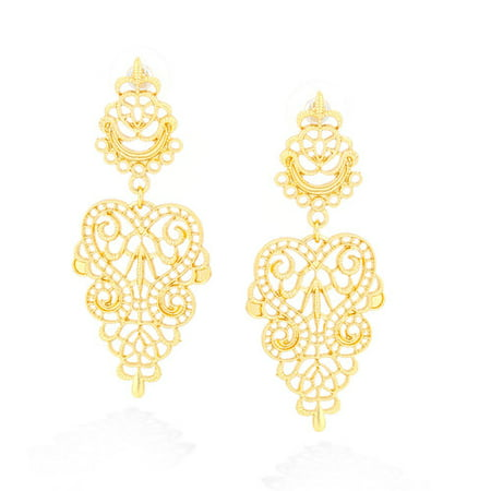 Gold-Plated Filigree Drop Post Earrings Drop Single Stone Post Earrings