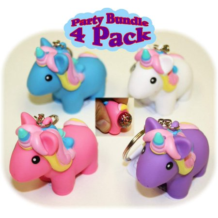 Animolds PooPoo Unicorn (Glitter Pooping Unicorns) Keychains Pink, Blue, Purple & White Complete Gift Set Party Bundle - 4 Pack - Pink And White Polka Dot Party Supplies