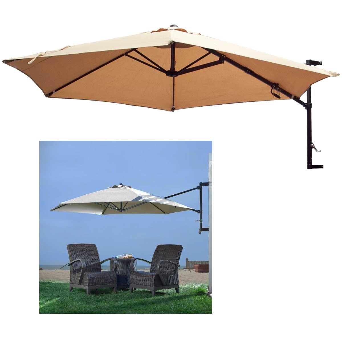 Wall Mount Patio Umbrellas 10 Feet Garden Outdoor Sun Canopy Crank