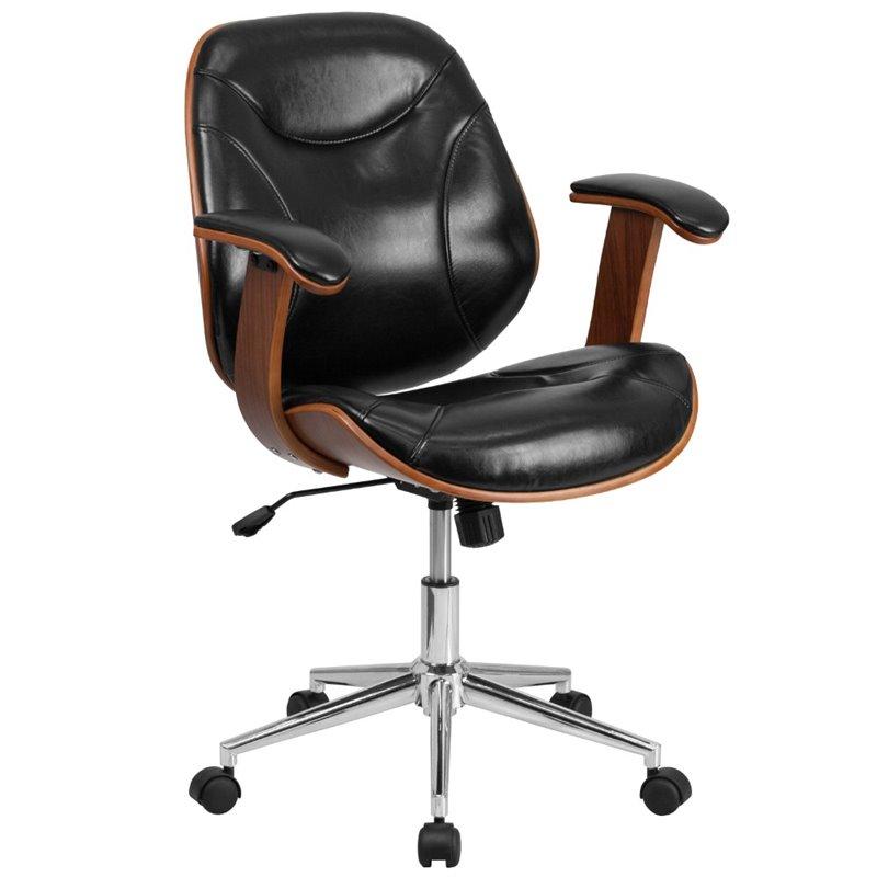 Scranton & Co Leather Swivel Office Chair in Black and Walnut