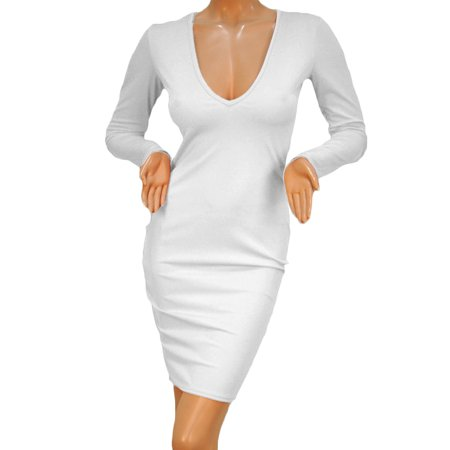 2017 New Hot Sexy Women Bandage Bodycon Long Sleeve Evening Party White Slim Dress