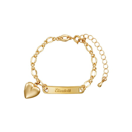 Personalized Gold-Tone Girls' Heart Charm Name Bracelet](Girls Charm Bracelets)