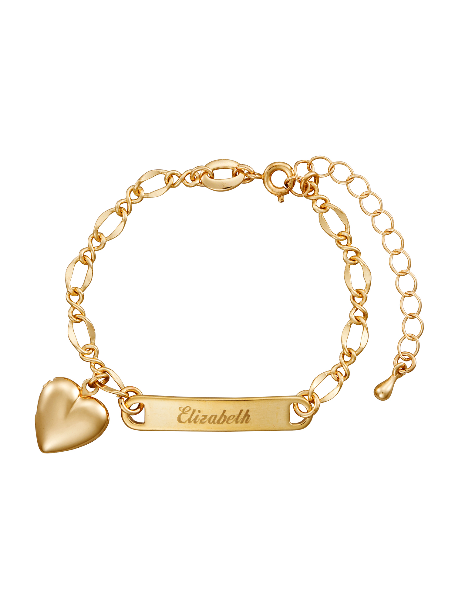 Personalized Gold-Tone Girls' Heart Charm Name Bracelet