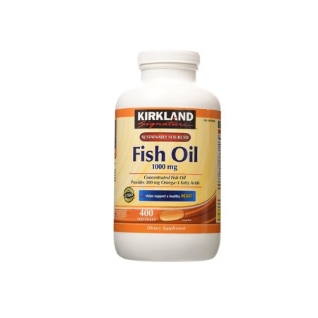 Kirkland Signature Fish Oil Concentrate With Omega 3 Fatty Acids  400 Softgels  1000Mg