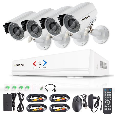 Fredi 4Ch Security Camera System Ahd 720P 1Mp Dvr Video Surveillance System With Indoor Outdoor Bullet Camera And Ir Night Vision Motion Detection Loop Video  Without Hard Drive