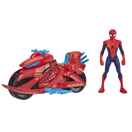Marvel Spider-Man 6-Inch Figure, Includes Spider Cycle Vehicle