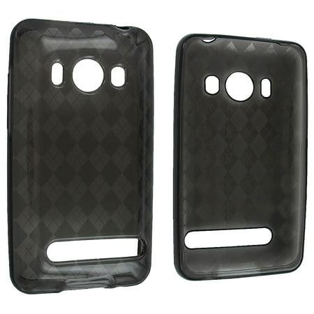 Smoke Checker - Smoke TPU Gummy Case Cover with Checker Design for HTC Evo 4G A9292