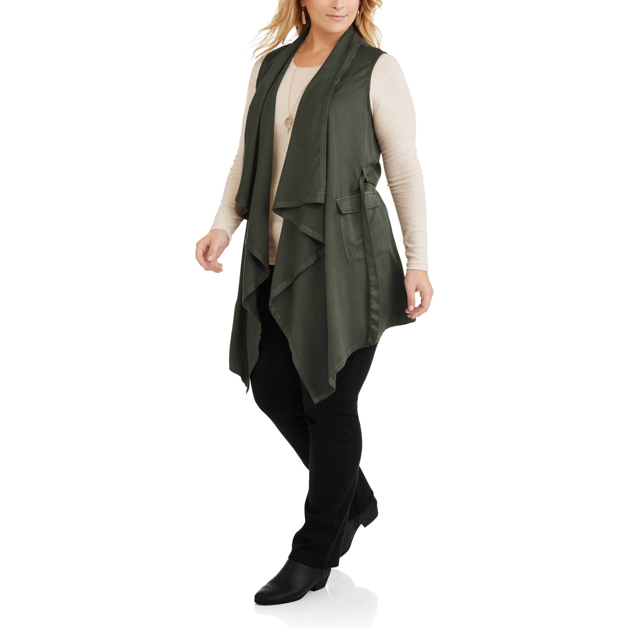 Women's Plus Sleeveless Drapey Vest