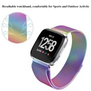 EEEKit Stainless Steel Large Loop Strap Wrist Band for Fitbit Versa &  Fitbit Versa Lite Fitness Watch, Replacement Metal Bracelet Wristbands for  Women