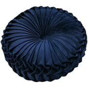 Polyester Fiber Round Floor Cushion Pillow Pouf Throw Home Sofa Decor Luxury European Round Solid Color Pleated Floor Pillow
