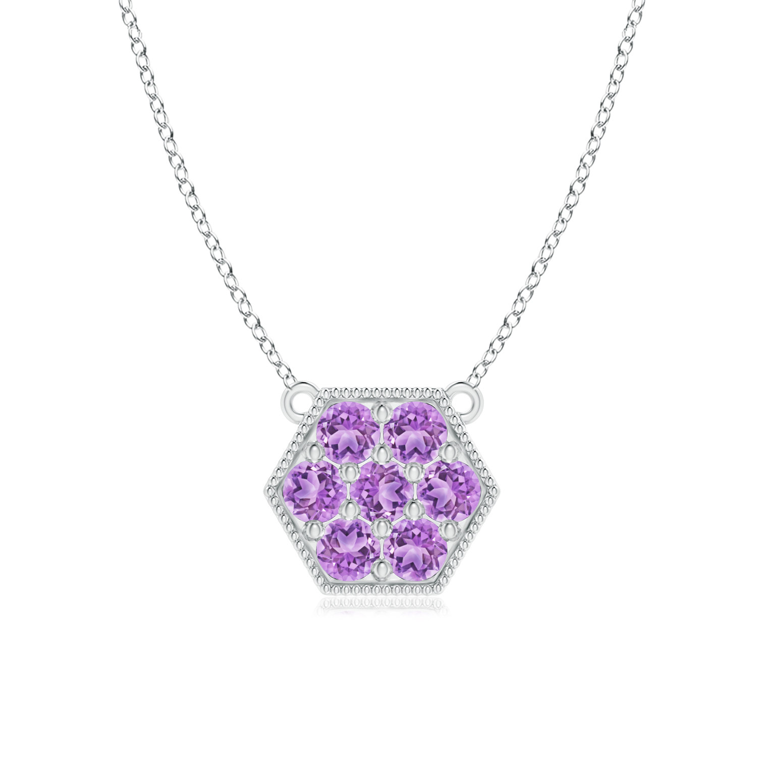 February Birthstone Pendant Necklaces Pave Set Amethyst Hexagon Necklace Pendant with Milgrain in 14K Rose Gold (2mm... by Angara.com