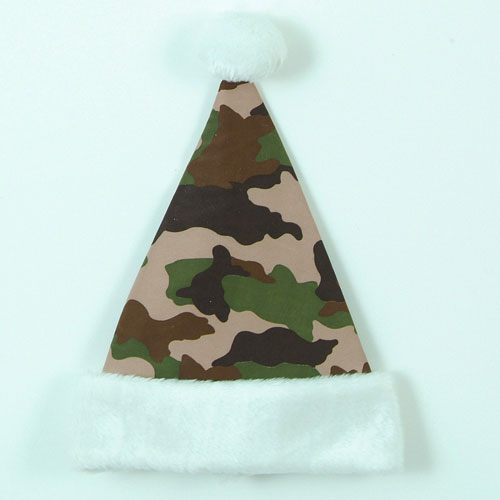 "14"" Brown, Tan and Green Camouflage Print with White Cuff Christmas Santa Hat"