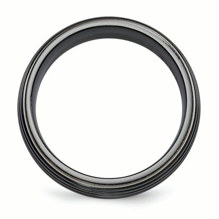 Edward Mirell Titanium Black Grooved 8mm Wedding Ring Band Size 12.00 Man Classic Fancy Fashion Jewelry Gift For Dad Mens For Him - image 3 of 10