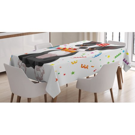 Birthday Decorations for Kids Tablecloth, Black and White Boston Terrier with Colorful Party Backdrop, Rectangular Table Cover for Dining Room Kitchen, 52 X 70 Inches, Multicolor, by Ambesonne