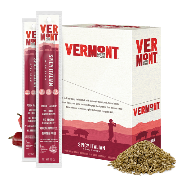 Vermont Smoke & Cure Spicy Italian Pork 1 oz Sticks 24 Count by
