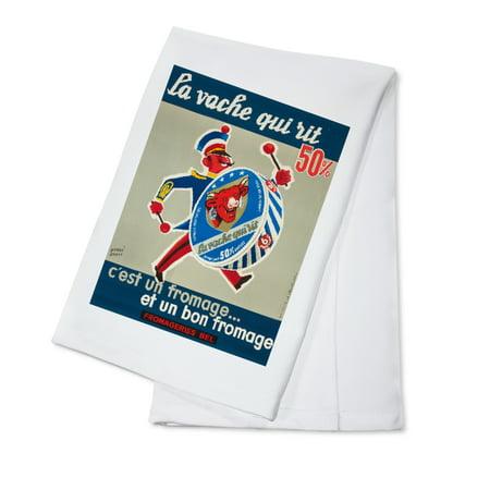 La Vache Qui Rit (drummer) Vintage Poster (artist: Baille) France c. 1950 (100% Cotton Kitchen Towel)