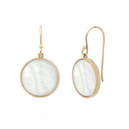 Round Mother of Pearl Kendra Earrings in 14K Gold Plated Sterling Silver Mother Of Pearl Opal Earrings