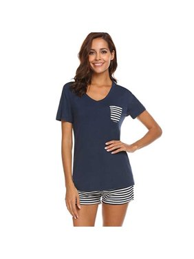 Women Concise Casual Short Sleeve V-collar Comfortable Striped Short Style Pajama Set