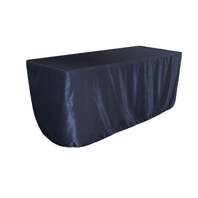 LA Linen TCbridal-fit-72x30x30-NavyB72 Fitted Bridal Satin Tablecloth, Navy 72 x 30 x 30... by LA Linen