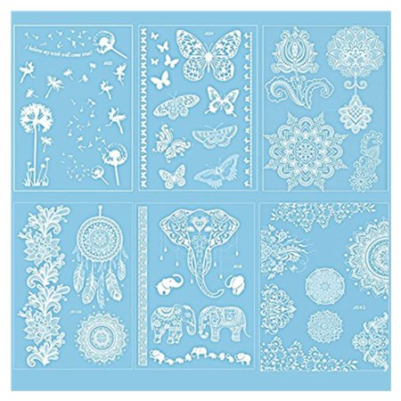 Pack of 6 Sheets Henna Tattoo Decal Stickers  Lace Mehndi Temporary Tattoos Fashion Body Art Stickers for Women Teens & Girls (White)