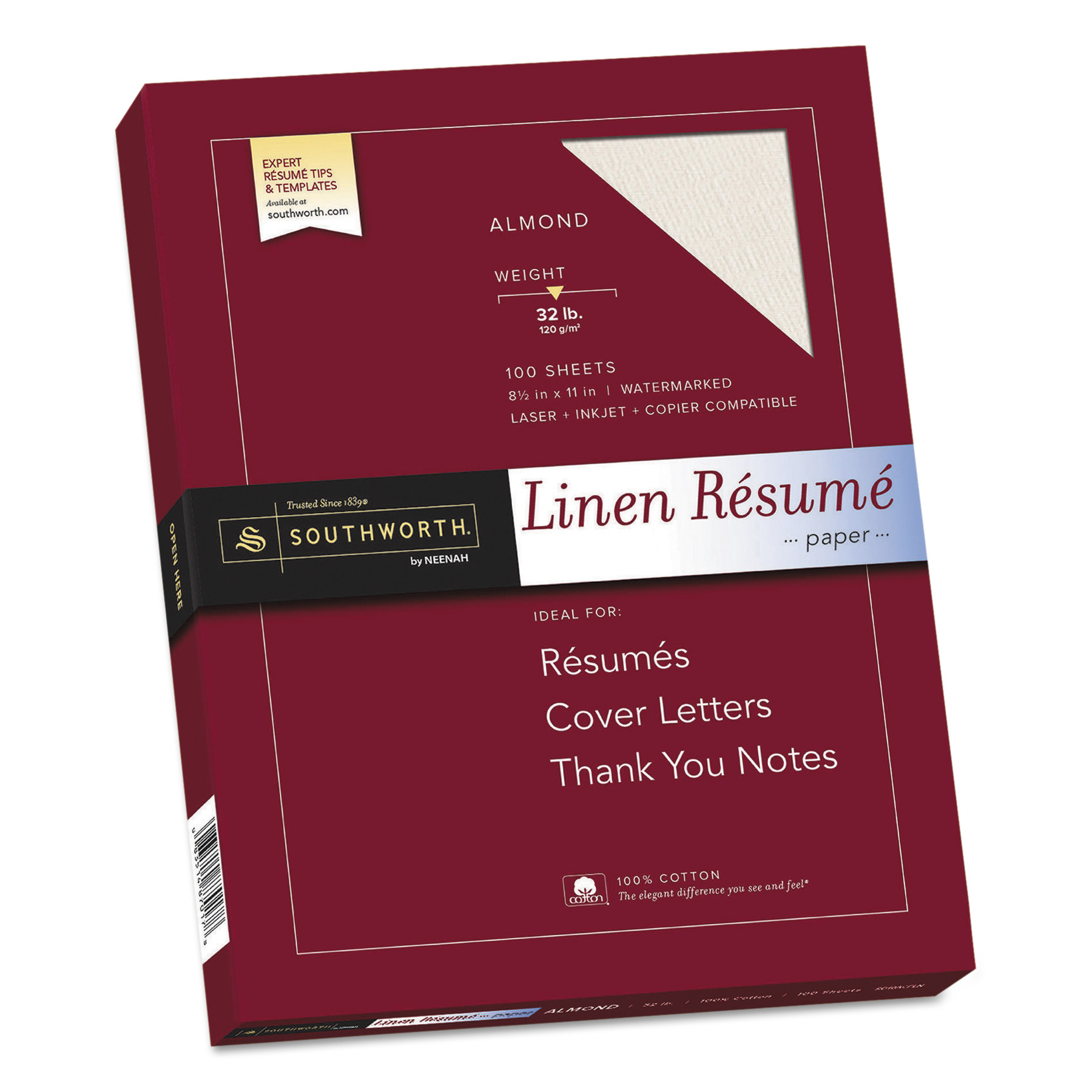 Southworth 100% Cotton Linen Resume Paper, 32lb, 8 1/2 x 11, Almond, 100 Sheets -SOURD18ACFLN